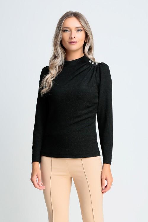 Bluza neagra cu nasturi