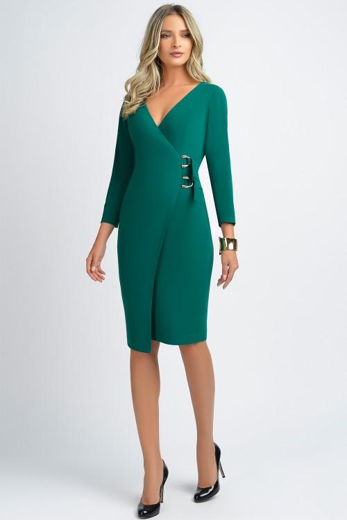 Rochie verde cu catarame aurii